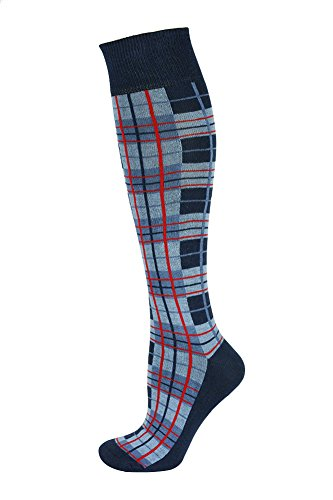 Mysocks Knee High Long Socks Plaid Design Check Navy Blue Red Line (Mens Argyle Socks Knee High)