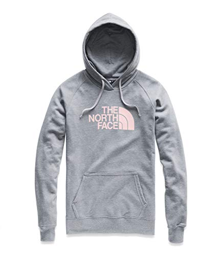 (The North Face Women's Half Dome Pullover Hoodie TNF Medium Grey Heather/Pink Salt Small)