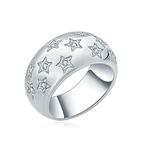 ANAZOZ Gold Plated Womens Band Silver Modern Shiny Star Pattern with CZ Wedding 11X18Mm Size 7 ()