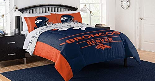 Full 90 Denver Broncos NFL Queen Comforter, Logo'd Sheets & Shams, 7 Piece Bed in A Bag + Homemade Wax - Nfl Football Bedding Comforter Queen