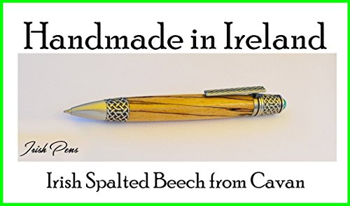 Celtic wooden Irish handmade rollerball pen best pen for smooth writing pen linked to Ireland FREE personal note in the pen case lid Personalize the pen body