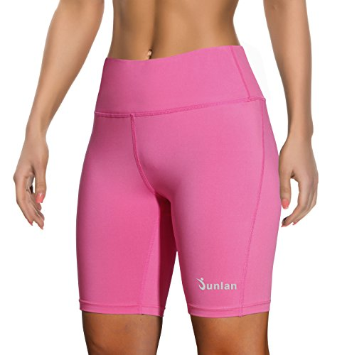 Women Yoga Shorts Pants Workout Running High Waist Athletic Short Sport Fitness Jogging Tights Tummy Control Clothes (Rose red, XXL)