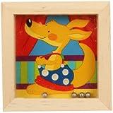 Goki - Petit Jeu de Patience 4 billes Jouet en bois Kangourou Casse tête pour Enfant 5+