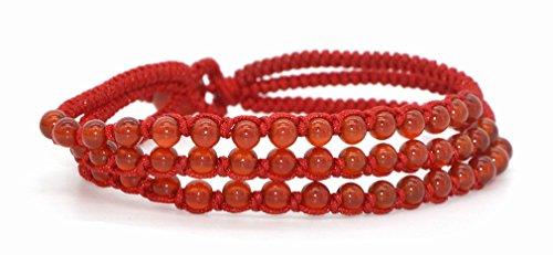 3-Row Red Agate Beads Jewlery Bracelet Handmade Braided String Rotating Bracelet Red Rope Line Wristband Hand Chain