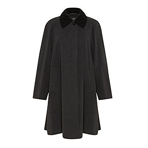 De la Crème - Women's Wool and Cashmere Blend Swing Winter Coat, Black, Size 14 ()