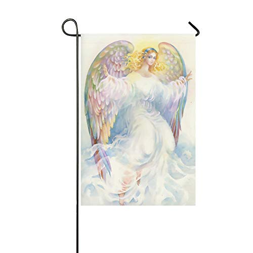 Oriental Garden Lantern Fountain - Beautiful Angel with Wings Polyester Garden Flag Outdoor Banner 28 x 40 inch, Watercolor Decorative Large House Flags for Wedding Party Yard Home Decor