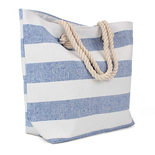 Tote Bag - Beach Bag - Beach Tote - Large Tote Bag with Rope Handles - Rutledge & KingTM Edisto Designer Tote Bag - Polyester Linen Tote