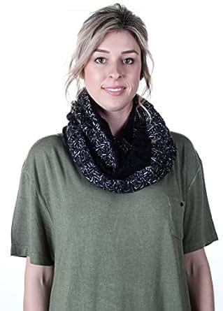 Tahari Marled Knit Infinity Scarf Black Trim