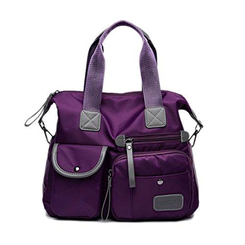 SODIAL Negro Nuevo Bolsa bolso de Oxford impermeable de moda de senora Bolsa de hombro de nylon informal Bolso de mamaBolsa de lona de gran capacidad Purpura