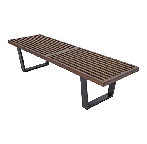 LeisureMod Mid-Century George Nelson Style Platform Bench in 5 Feet (Dark (Modern Style Platform)