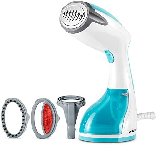 BEAUTURAL 1200-Watt Steamer for Clothes with Pump Steam Technology, Portable Handheld Garment Fabric Wrinkles Remover, 30s Fast Heat-up, Auto-Off, 8.79 oz. Large Detachable Water Tank Aqua