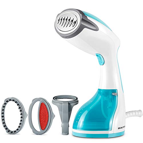 BEAUTURAL 1200-Watt Handheld Steamer for Clothes, Garment Fabric Wrinkles Remover, 30s Fast Heat-up, Auto-Off, 8.79 oz. Large Detachable Water Tank, Aqua (Steamer Cleaning Hand)