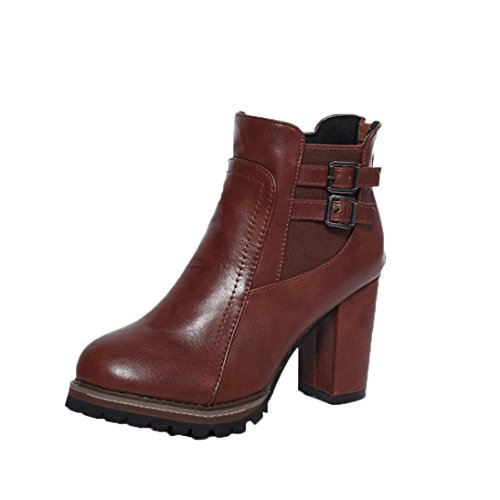 Women's Ankle Boots, Buckle Strap Block Heel Boots Ladies Shoes Martin [Winter (Brown, 38/ US:6.5) (Sure Grip Oxford)