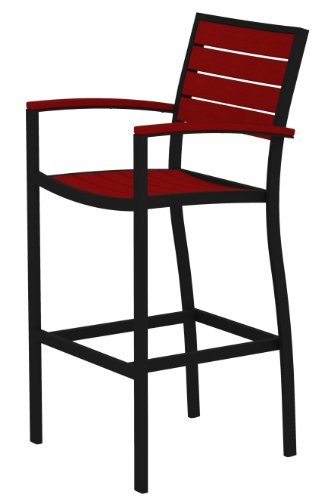 (POLYWOOD A202FABSR Euro Bar Arm Chair, Textured Black/Sunset Red)