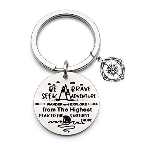 FEELMEM Adventurist Gifts Be Brave Seek Adventure Keychain Traveling Keyring Outdoor Lovers Mountains Gift for Wanderlust/Backpacker/Hiker (Silver)