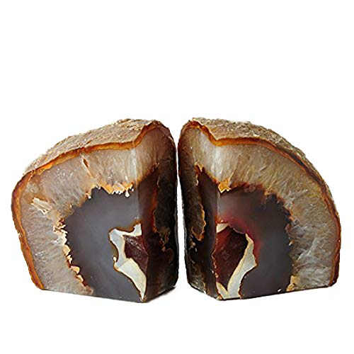 JIC Gem: Polished Natural Agate Bookend(s) - 1 Pair - 2 to 3 Lbs