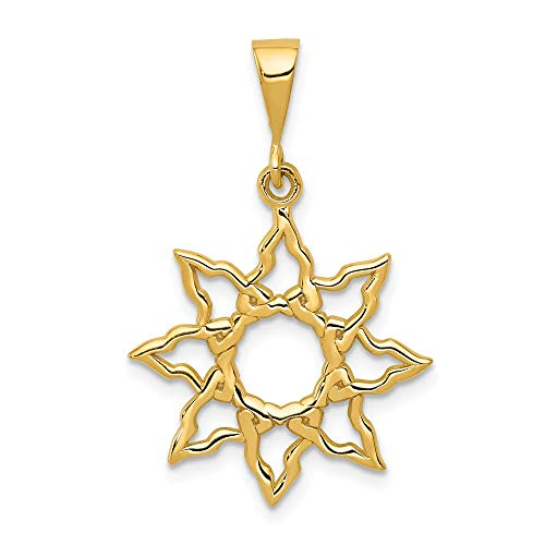 (Solid 14k Yellow Gold Sun Charm Pendant (26mm x 19mm) )