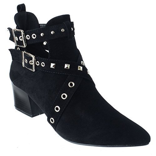 Miss Image UK Damen Niedrig Mittlerer Blockabsatz Stecker Zehen Zeigen Ausgeschnitten Stiefeletten Schuhe Größe schwarz Kunstwildleder
