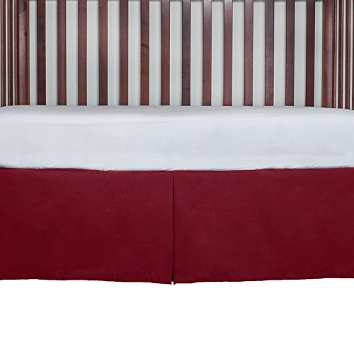 Crib Dust Ruffle Tailored Cribskirt 15 inches long Color: RED from AB Lifestyles