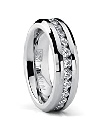 Metal Masters Co.® 6MM Ladies Eternity Titanium Ring Wedding Band with CZ sizes 4 to 9