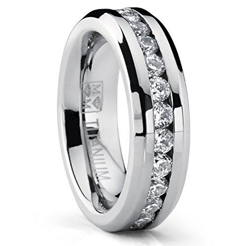 6MM Ladies Eternity Titanium Ring Wedding Band with Cubic Zirconia size 7.5