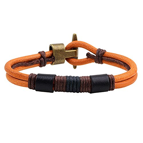 Handmade Brown Leather Wound-around Nature Thread Bracelet for Him and Her