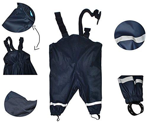 hochwertig - Regenhose / Matschhose - Gr. 122 - 128 - für Kinder von 6 Jahre bis 7 Jahre - gefüttert mit 100 % Baumwolle - dunkelblau für Kind - Regenhosen - Matschhosen Regen Mädchen Jungen / Regenlatzhose Latzhose - Matschanzug