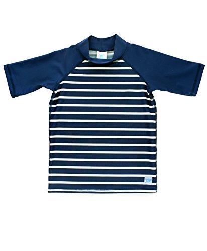 RuggedButts Little Boys Navy Stripe UPF 50+ Rash Guard Short Sleeve Swim Shirt - 2T