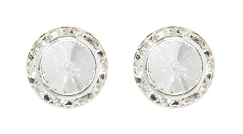Rivoli Button (#12536 13mm Rondel with Rivoli Button Earrings - Clip)