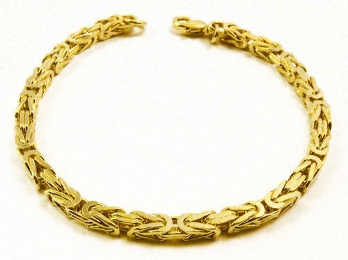 Tendenze Italy Byzantine-Chain Bracelet, Gold Plated, 4mm, Length 21cm, Directly From The Italian Factory