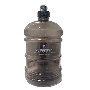 AquaNation 1/2 Gallon Water Bottle Jug Daily 8 Polycarbonate Half Gallon Plastic Sports Gym Fitness Water Bottle Jug Portable Camping Hiking Water Bottle Canteen (Grey)