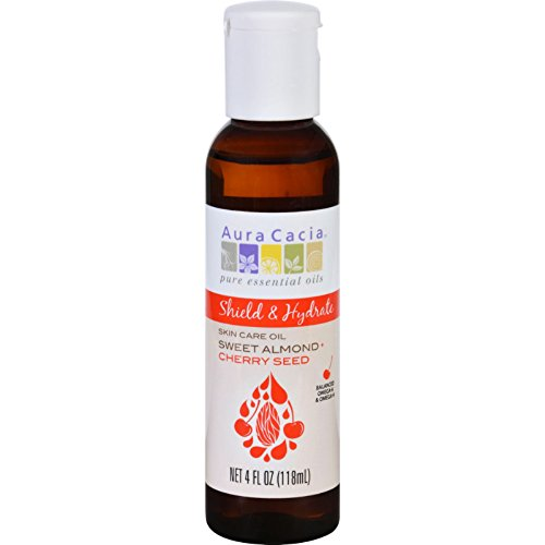 Aura Cacia Skin Care Oil - Shield and Hydrate - Sweet Almond plus Cherry Seed - 4 oz - Provides smooth glide and hydrates the skin