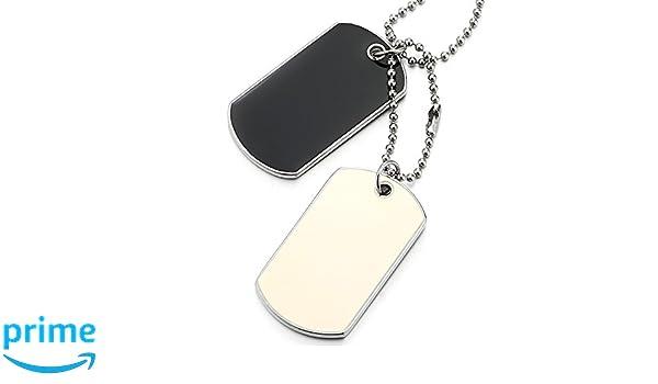 Bola Cadena 70CM COOLSTEELANDBEYOND Dos Piezas Dog Tag con Esmalte Negro y Blanco Collar con Colgante de Hombre Mujer