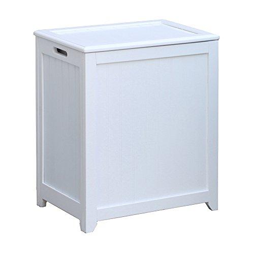 Oceanstar RHP0109W Rectangular Laundry Wood Hamper, White Finished