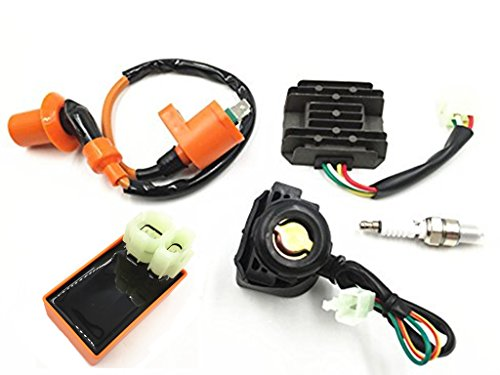 JIKAN AC Racing Ignition Coil 6pin Connector CDI Spark Plug Voltage Regulator Rectifier Relay 50cc 60cc 80cc 150cc ATV Quad Go Kart Moped and Scooter