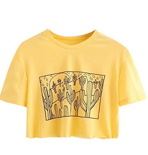 SweatyRocks Women's Cactus Print Crop Top Summer Short Sleeve Graphic T-Shirts (Large, Yellow#2)