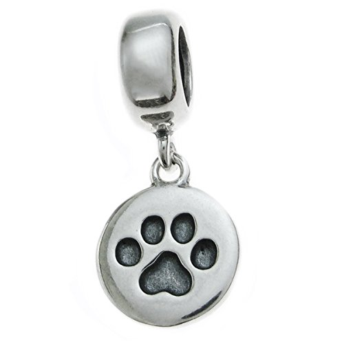 (Queenberry .925 Sterling Silver Round Puppy Dog Cat Paw European Style Dangle Bead Charm)
