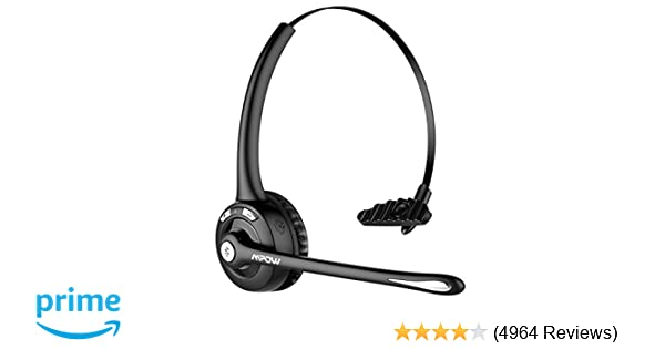 Mpow Pro Trucker Bluetooth Headset/Cell Phone Headset with Microphone,  Office Wireless Headset, Over the Head Earpiece, On Ear Car Bluetooth