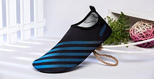 Norocos Mens Acqua Leggera Scarpe Morbide Calze A Secco Quick-dry Per La Spiaggia Di Surf Surf Yoga Stripe Blu