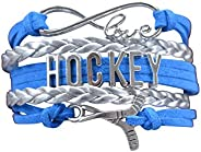 Hockey Charm Bracelet, Hockey Jewelry- Infinity Love Hockey Bracelet for Her