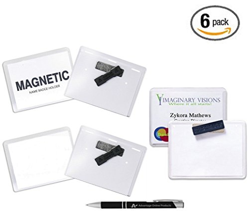6 Pack Magnetic Badge Holder Kit, Protects Clothes From Pin Holes, 4 x 3 inches, Includes Printable Paper Inserts for InkJet or Laser Printer. Free AdvantageOP Retractable Pen (Inkjet Badge Holder Kit)