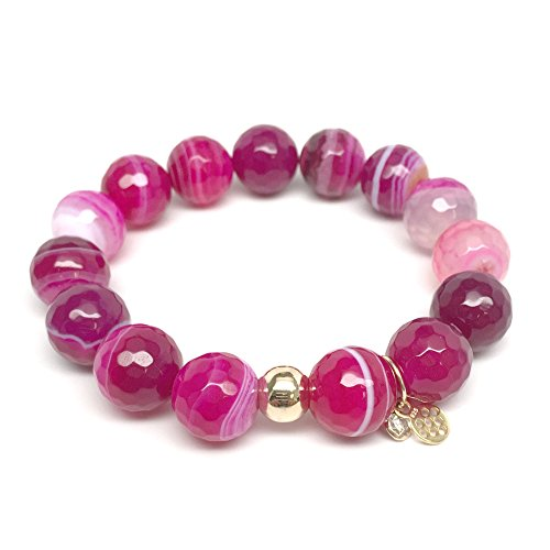 TFS Jewelry Fuchsia Agate 'Lauren' Stretch Bracelet