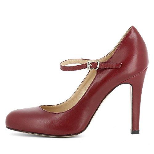 Lisse Shoes Evita Cuir Rouge Escarpins Foncé Femme Cristina qXOwP4Zv