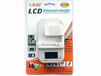 8db2b9e41ff CARGADOR UNIVERSAL DE RED PARA CASA BATERIA + USB MOVILES Y CAMARAS LCD:  Amazon.es: Electrónica