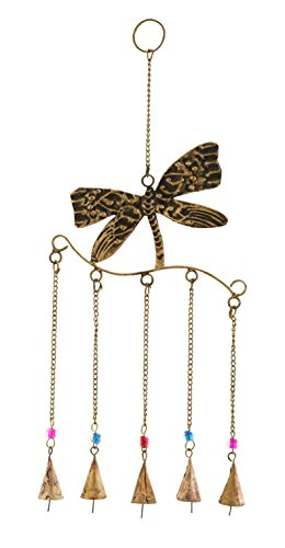 Benzara Dragonfly Wind Chime Assembled with 5 Hanging Bells