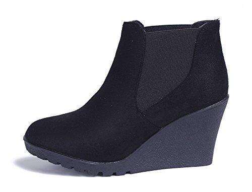 AgeeMi Shoes Damen Stiefeletten Wildleder Chelsea Boots Keilabsatz Stiefel Schwarz
