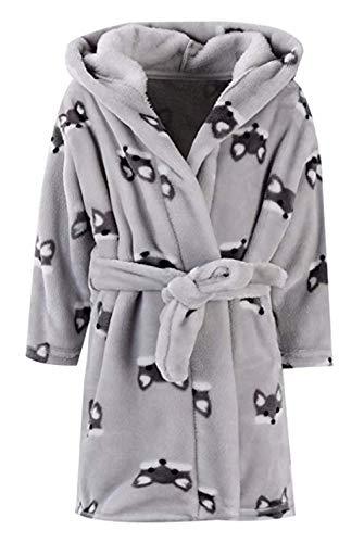 Toddler Girls & Boys Bathrobes,Plush Soft Coral Fleece Robes Hooded Animal Sleepwear Pajamas for Kids Girls (Gray Fox, 7-8T(Fit Height 51