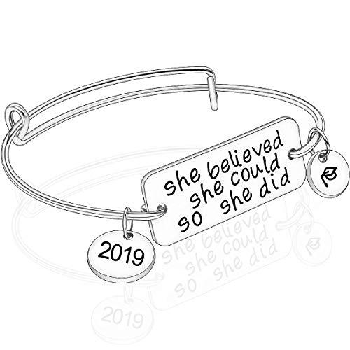 Ingooood YOUMIYA Graduation Gift Bracelet for Women 2019 Graduation Cap Bracelet She Believed She Could So She Did Adjustable Bracelet for Women (Silver) ()