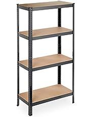 Relaxdays Plank voor zware lasten, 4 planken, 157 x 80 x 41 cm, 280 kg draagvermogen, metaal, opbergrek voor kelder, garage, zwart