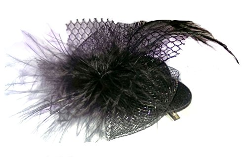 Altissimo Womens Tiny Elegant Top Hat Fascinator Brooch of Feathers & Tulle (Burlesque Clothing Men)